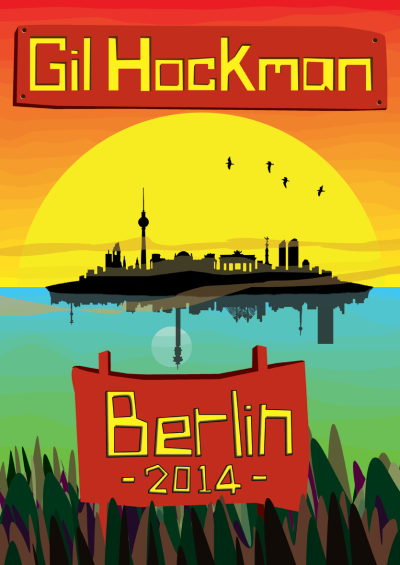 This is the general poster design I made for my first trip. For some specific gigs I changed the 'Berlin 2014' bit for the venue name and date.
